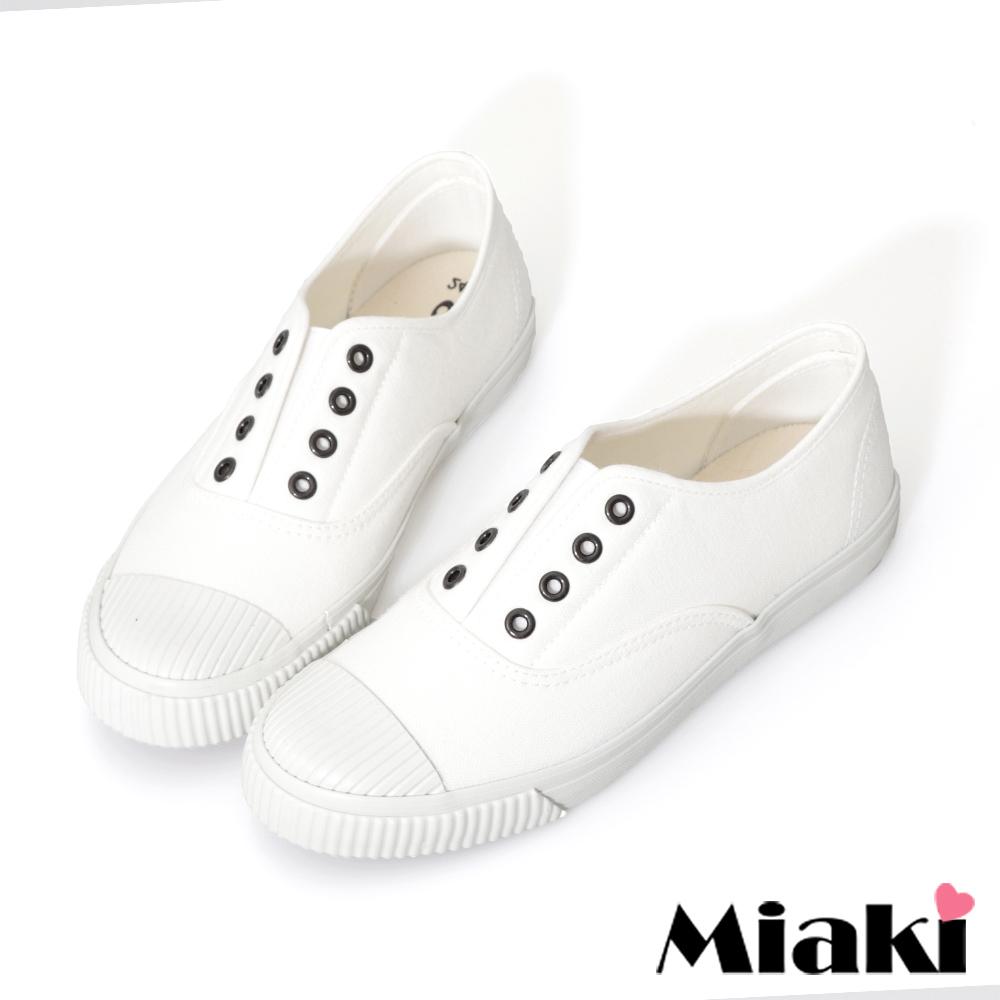 Miaki-休閒鞋.韓式學院風帆布餅乾鞋-白