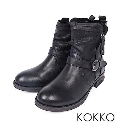 KOKKO-布拉格廣場率性中筒短靴-暗影黑