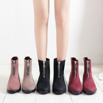 LN 布面時尚拉鍊短筒雨靴-4色