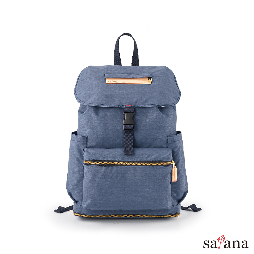 satana - Soldier 拼接束口後背包 - 夜影藍