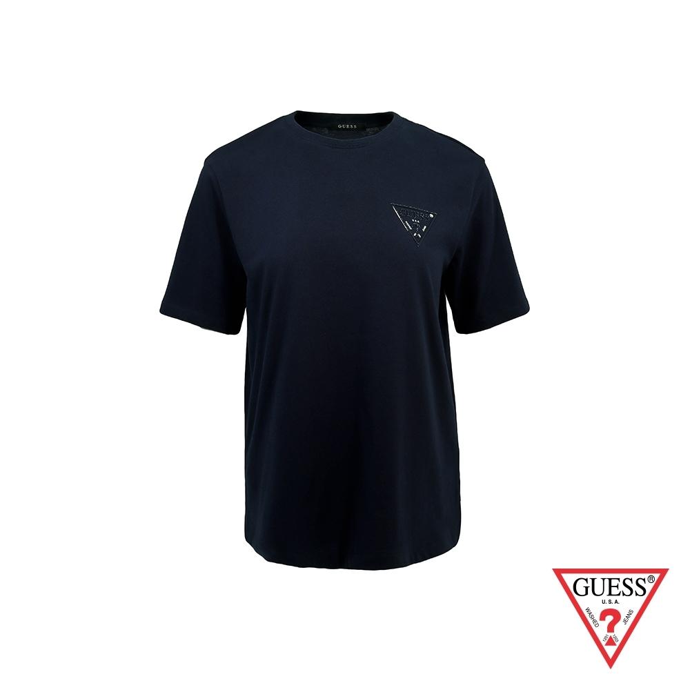 GUESS-女裝-寬鬆經典PVC壓印LOGO短T,T恤-藍