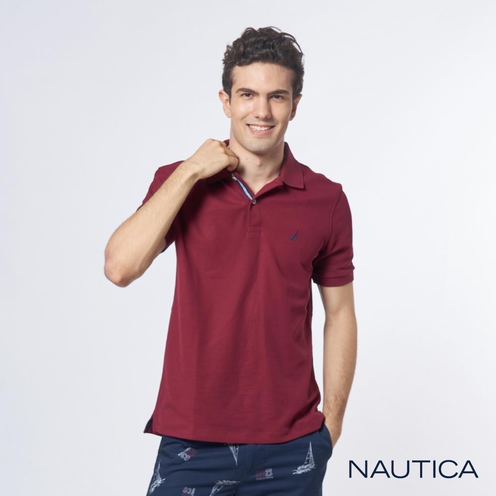 Nautica 機能型經典吸濕排汗短袖POLO衫-暗紅