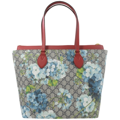 GUCCI Blooms 系列花朵PVC拉鍊肩背托特包(紅邊)