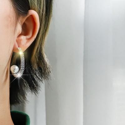 梨花HaNA 韓國925華麗耳際全鑽圈飾珍珠耳環