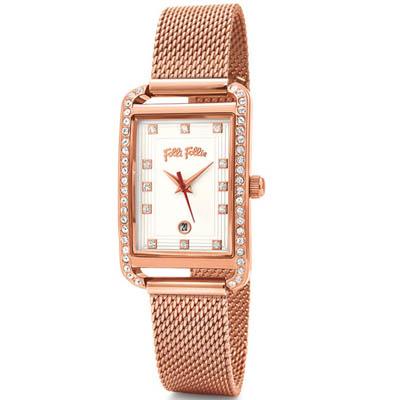 Folli Follie Style Swing 時尚水鑽米蘭腕錶20x30mm/玫瑰金