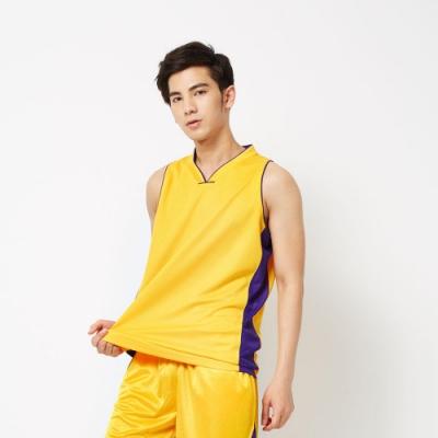 【FIVE UP】男款撞色剪接吸濕排汗籃球背心-黃