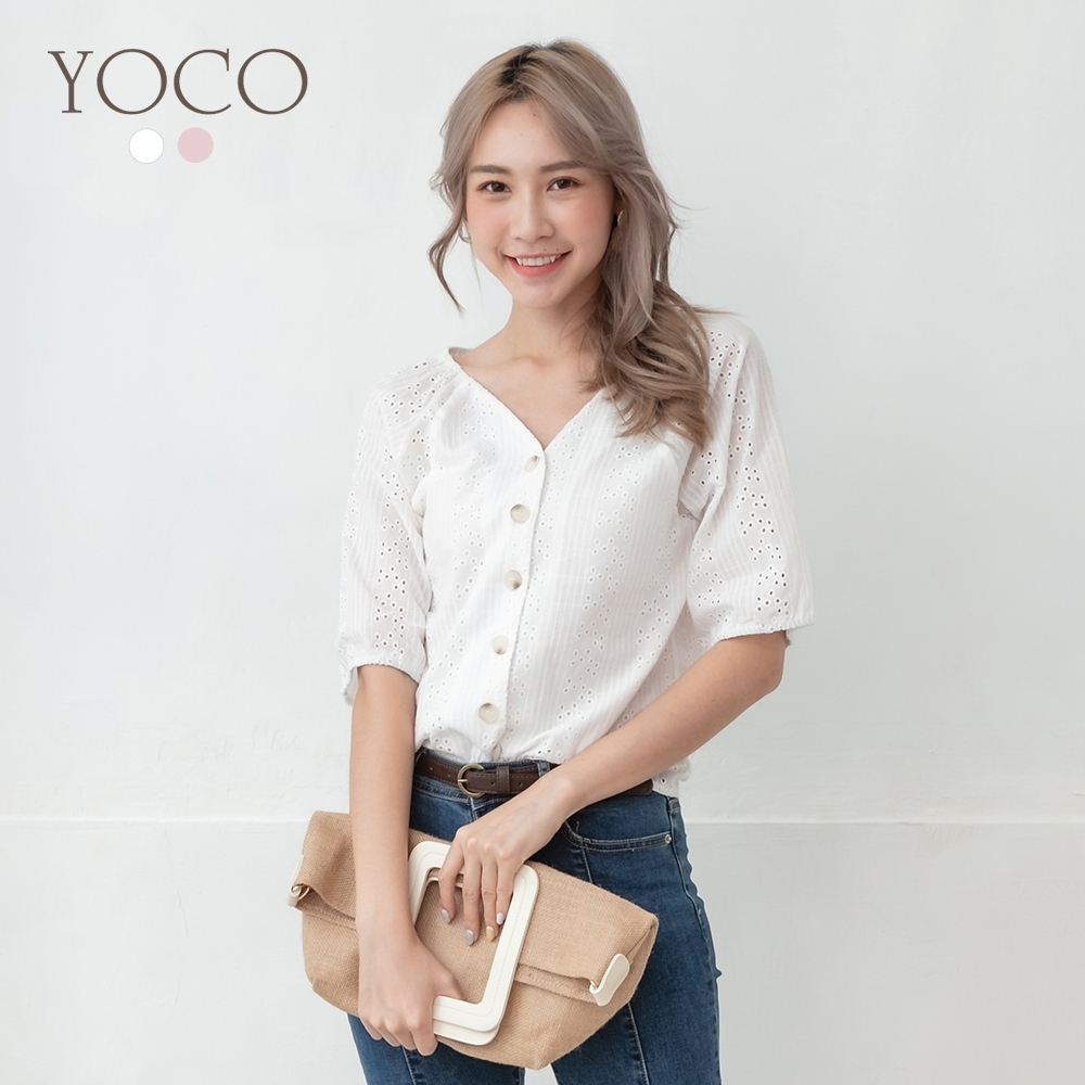 東京著衣-YOCO 微性感甜美雙V領鏤空蕾絲雕花上衣-S.M.L(共二色)