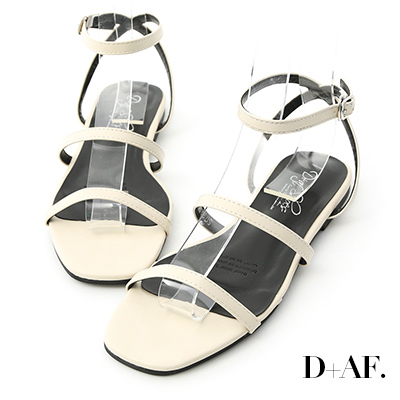 D+AF 夏氛聚焦.雙帶繫踝方頭平底涼鞋*米