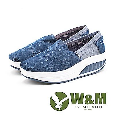 W&M BOUNCE系列 春意盎然 刷破感增高厚底女鞋-深藍(另有淺藍)