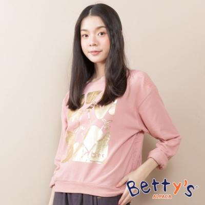 betty's貝蒂思 燙金繡花網紗T-shirt(淺粉)