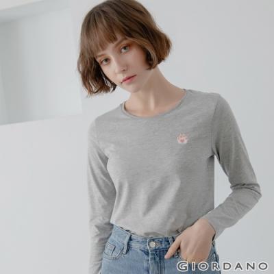 GIORDANO 女裝Natural刺繡長袖圓領T恤 - 07 中花灰