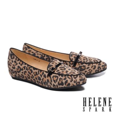 低跟鞋 HELENE SPARK 經典百搭全真皮內增高樂福低跟鞋-咖