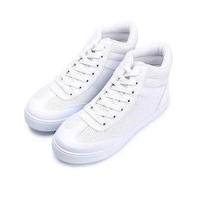 BuyGlasses 微內增高綁帶高筒休閒鞋-白