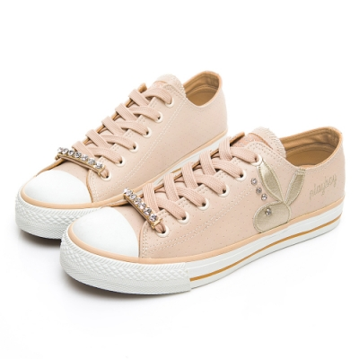 PLAYBOY 水鑽可拆鞋釦休閒鞋-米-Y570533