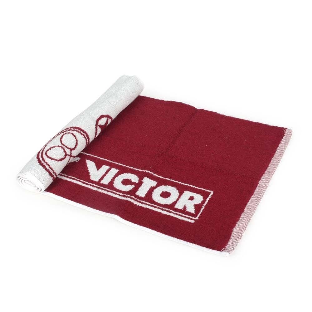 VICTOR 運動毛巾-一只入 海邊 浴巾 游泳 戲水 慢跑 路跑 勝利 C-4159D 酒紅白