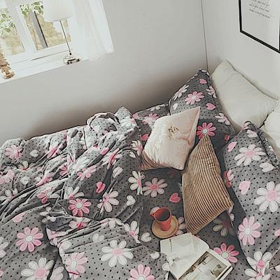 絲薇諾 心花開 雙人四件式-法蘭絨 鋪棉加厚床包被套組