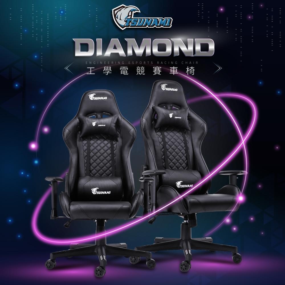 【TSUNAMI】旗艦海嘯工學皮革電競賽車椅-全黑款