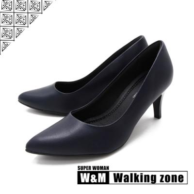 WALKING ZONE SUPER WOMAN系列 尖頭高跟上班淑女鞋 女鞋- 藍(另有黑.白.卡其)