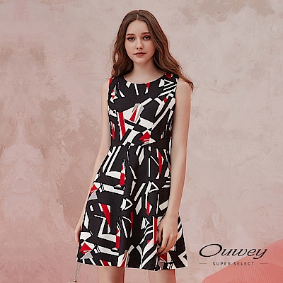 OUWEY歐薇 修身立裁撞色幾何背心洋裝(黑)