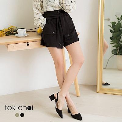 東京著衣-帥氣女孩綁帶造型不對稱短褲-S.M.L(共兩色)