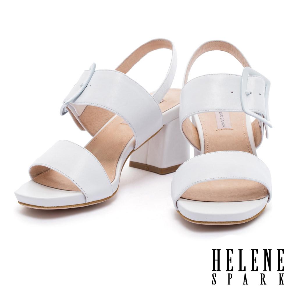 涼鞋 HELENE SPARK 簡約主義經典不敗寬繫帶羊皮粗高跟涼鞋-白