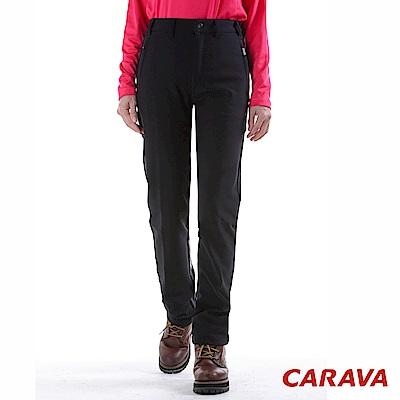 CARAVA 女款修身軟殼保暖褲(黑)