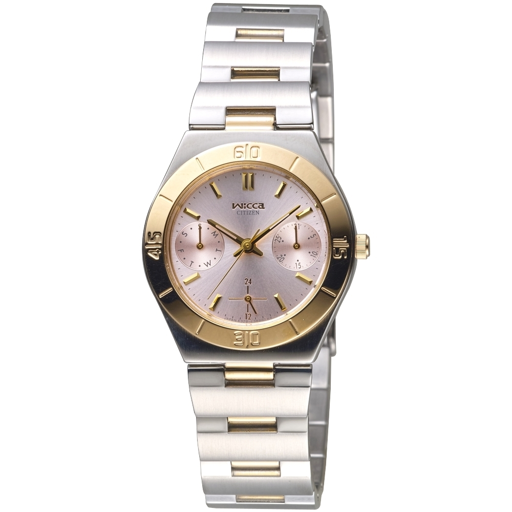 CITIZEN星辰手錶 Wicca都會美麗全月曆女錶-中金(ED8014-51X)/31mm 保固二年