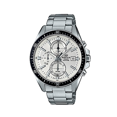 CASIO 卡西歐 EDIFICE系列 競速賽車三眼計時手錶-銀白/44.1mm