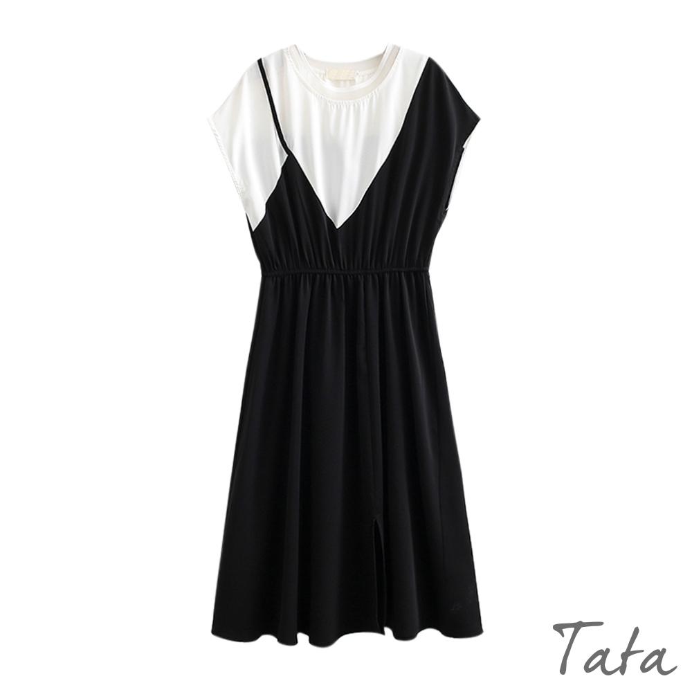 撞色拼接網紗假兩件圓領洋裝 TATA-(M/XL)