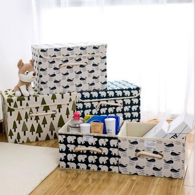 2入日式印花棉麻摺疊收納箱 收納籃 掀蓋 整理箱 衣物玩具