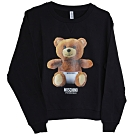 MOSCHINO 希臘製可愛小熊LOGO圖騰100%棉質長袖T恤(黑)
