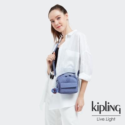 Kipling 時髦藍紫色拉鍊兩用側背後背包-PUCK