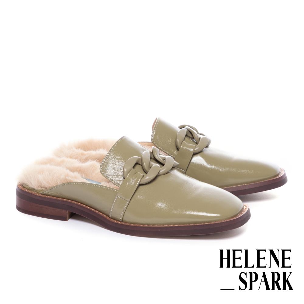 穆勒鞋 HELENE SPARK 復古時髦粗鏈毛毛方頭低跟穆勒拖鞋-綠