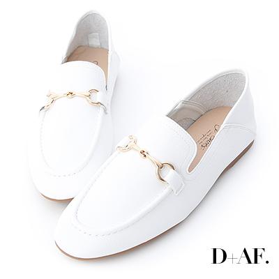D+AF 品味焦點.馬銜釦可後踩樂福鞋*白