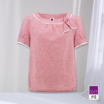 ILEY伊蕾 綁結造型領千鳥紋棉麻上衣(紅)1212061033