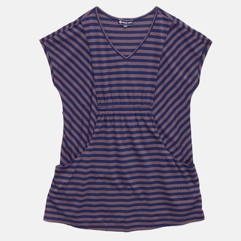 【ohoh-mini 孕哺裝】簡單時尚條紋長版孕哺上衣