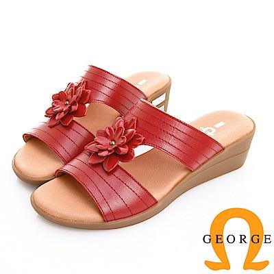 GEORGE 喬治皮鞋 舒適氣墊 真皮壓線立體花朵楔型拖鞋 -紅