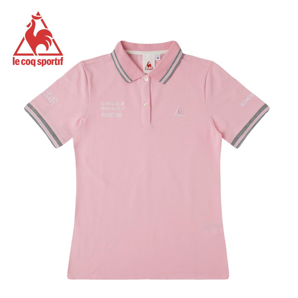le coq sportif 法國公雞牌短袖POLO衫 女-灰粉