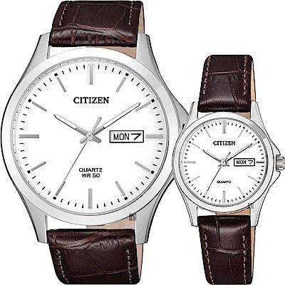 CITIZEN 星辰 簡約石英對錶-白x咖啡/40+27mm @ Y!購物