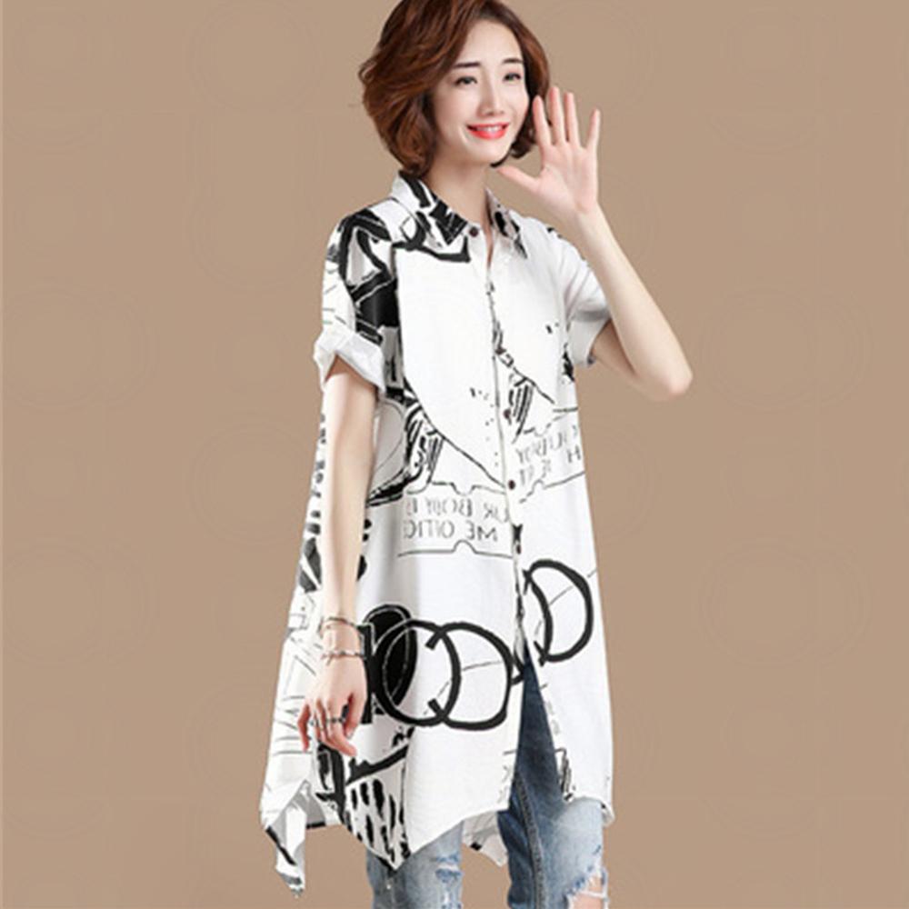初色  黑白印花休閒連身裙-白色-(L-2XL可選)