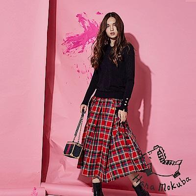 Hana+花木馬 英式格紋撞色印花100%棉製一片式打摺造型中長裙-紅