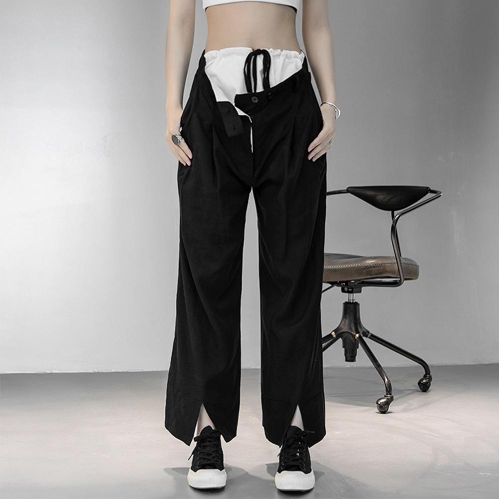 設計所在Style-颯氣十足個性雙腰抽繩寬鬆直筒開叉八分褲
