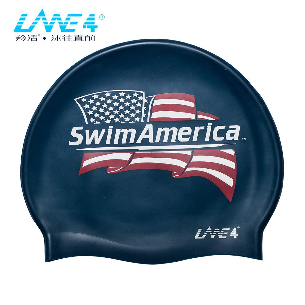 羚活 兒童矽膠泳帽 美國國旗 LANE4 SILICONE CAP