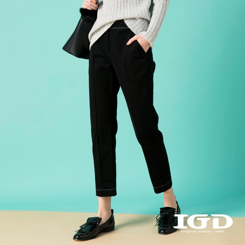 【IGD 英格麗】極簡質感褶線修身直筒褲