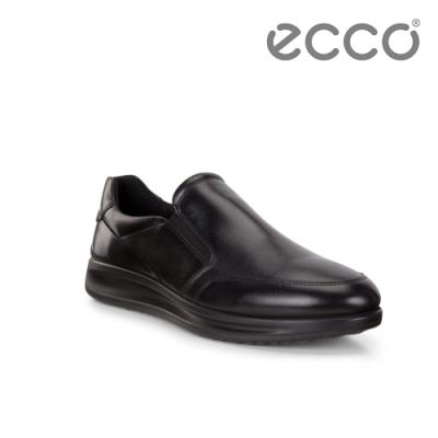 ECCO AQUET M 透氣休閒套入式樂福鞋 男-黑色