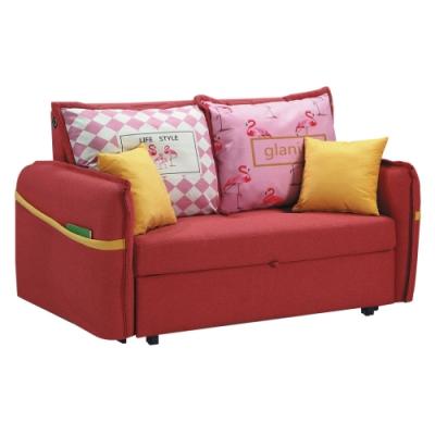 綠活居 馬文 熱情紅棉麻布多功能沙發/沙發床(拉合式機能設計)-160x66x90cm免組