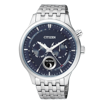 CITIZEN星辰Eco-Drive簡約月相鋼帶腕錶-藍色(AP1050-56L)