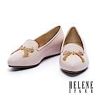 平底鞋 HELENE SPARK 蝴蝶結刺繡造型全真皮樂福休閒鞋-粉