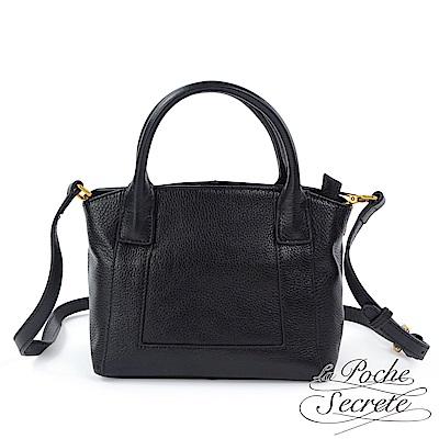 La Poche Secrete側背包 簡約真皮荔枝紋mini手提側背包-百搭黑