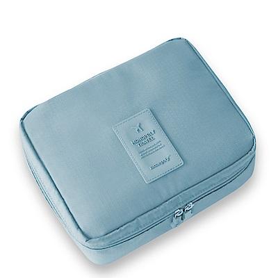 旅遊首選 多隔層防潑水 盥洗包 化妝包 收納包 旅行包 隨身包 洗漱包(水藍)